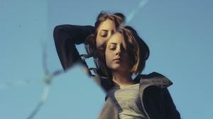 Woman Model Girl Brunette Cracked Mirror 2048x1300 Wallpaper