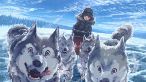 Anime Anime Girls Sun Sky Clouds Forest Snow Purple Eyes Blue Hair Siberian Husky Open Mouth Ice Sle 4093x2894 Wallpaper