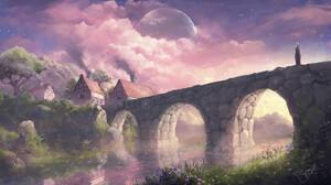 Max Suleimanov Digital Art Landscape Village Pink Clouds Bridge Cottage Trees Planet 1920x1080 wallpaper