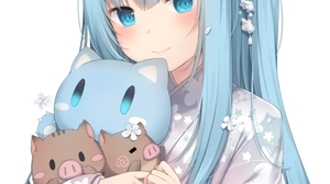 Anime Girls Long Hair Looking At Viewer Animal Ears Simple Background White Background Blue Hair Blu 942x1341 Wallpaper