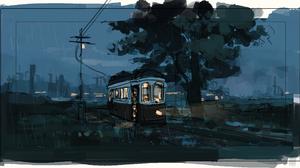 Digital Art Night Power Lines Artwork Trees Tram 2797x1469 Wallpaper