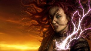 Lightning Magic Redhead Sunset Witch Woman 1920x1080 Wallpaper