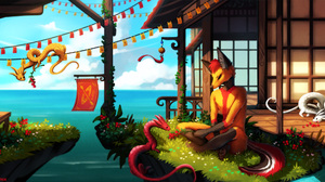 Digital Art Dragon Neytirix Anthro Boathouses Fox Berries Watermarked Chinese Dragon 2100x1078 Wallpaper