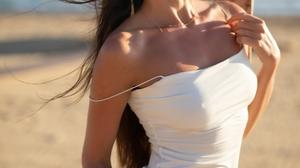 Filippo Sano Model Women Brunette Dark Eyes Dress White Dress Hips Legs Bare Shoulders Beach Sand Lo 2000x3000 Wallpaper