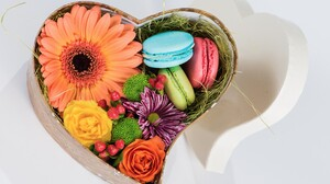 Colorful Flower Heart Shaped Macaron Still Life 7360x4912 Wallpaper