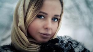 Woman Blonde Blue Eyes Face Hood Close Up Snow Winter 2048x1365 Wallpaper