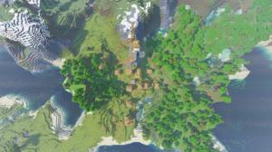 Minecraft Landscape Aerial View Forest Village 1920x1080 Wallpaper
