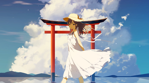 Portrait Display Anime Anime Girls Torii Clouds Zhibuji Loom Dress White Dress Sun Dress Barefoot Ha 4127x5015 Wallpaper