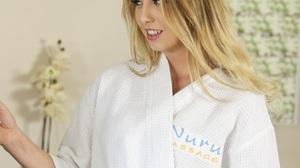 Women Bathrobes Blonde Open Mouth Long Hair White Clothing 1280x1268 Wallpaper