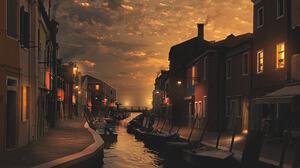 Matteo Sciarra Landscape Sky Clouds Evening Lights Water Building Canal Boat 900x1350 Wallpaper