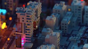 Voxels Urban Neon Vaporwave Tilt Shift Blade Runner 3D 1920x1080 wallpaper