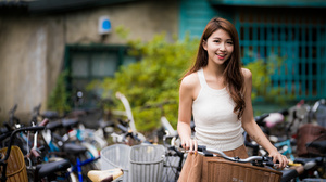 Asian Model Women Long Hair Dark Hair Bicycle White Shirt Depth Of Field Baskets Bushes Building 4562x3043 Wallpaper