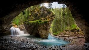 Cave Nature River Rock Waterfall 2739x1707 Wallpaper