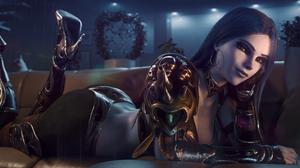 Widowmaker Overwatch Overwatch Video Games Video Game Girls Smiling Looking At Viewer Hoop Earrings  5120x2160 Wallpaper