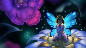 Blonde Fairy Fantasy Flower Girl Little Girl Wings 1920x1080 Wallpaper