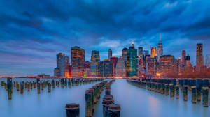 New York City Manhattan USA East River Skyscraper Building Sunset Evening Lights Sky Clouds City Cit 2048x1152 Wallpaper