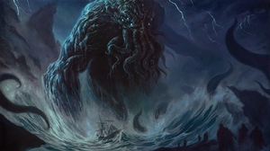 Cthulhu H P Lovecraft Drawing Creature Fantasy Art Tentacles Sea Blue 1600x900 Wallpaper