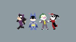 Batman Catwoman Dc Comics Harley Quinn Joker Minimalist 2048x1152 Wallpaper