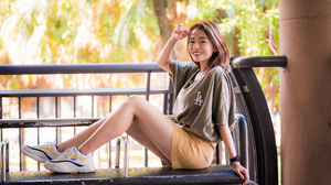 Asian Model Women Long Hair Dark Hair Women Outdoors Sneakers Sitting Leaning Bench Depth Of Field S 3840x2559 Wallpaper