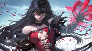 Anime Anime Girls Black Hair Long Hair Bangs Braided Hair Red Dress Armor Gloves Choker Magic Red Pe 2560x1440 Wallpaper