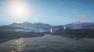 Assassins Creed Valhalla Landscape Trees Clouds Sky Mountains Water PC Gaming 2537x1440 Wallpaper