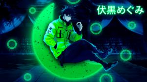 Megumi Fushiguro Jujutsukaisen Glowing Circle Half Moon Green Jacket Anime Design Anime Boys Kanji 1920x1080 Wallpaper