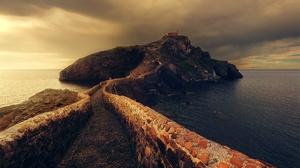 Bridge Cloud Lighthouse Rock Sea 2000x1335 wallpaper