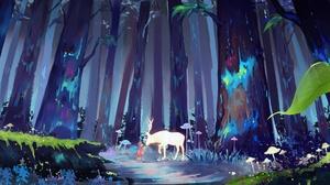 Illustration Artwork Forest Deer Spirit Mushroom Trees Antlers Children Fantasy Art Digital Digital  1920x1080 Wallpaper