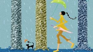 Girl Woman Cat Rain Umbrella 1920x1200 Wallpaper