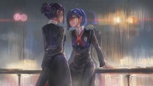 Darling In The FranXX School Uniform JK Rain Long Hair Short Hair Blue Hair Violet Hair Watercolor H 3500x2200 Wallpaper