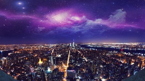 City Usa Cityscape Night Building Sky Manipulation Horizon 3000x1958 Wallpaper