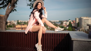 Model Women Red Lipstick Women Outdoors Smiling Shoes Pink Jacket Painted Nails Dark Hair 2048x1365 Wallpaper