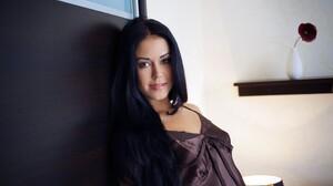 Women Model Brown Dress Red Lipstick Dark Hair Women Indoors Satin 2560x1600 Wallpaper