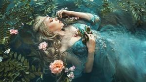 Marketa Novak Women Model In Water Dress Flowers Plants Fantasy Girl Closed Eyes Cyan Dress Blonde W 2048x1365 Wallpaper