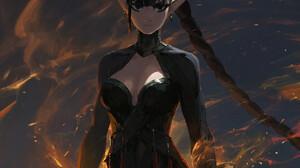 Kan Liu ArtStation Women Fantasy Art Fantasy Girl Black Hair Pointy Ears Dark Eyes Fire Magic Standi 1280x1781 Wallpaper