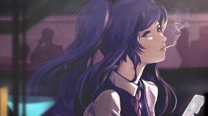 Anime Anime Girls Va 11 Hall A Jill Stingray Purple Hair Red Eyes Smoking Smartphone Tie Shirt Long  2048x1428 Wallpaper