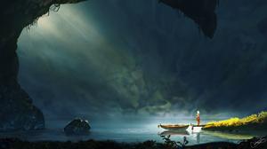 Boat Lake Woman 3000x1613 wallpaper