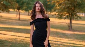 Black Clothing Black Dress Portrait Trees Bare Shoulders Women Sergei Vasiliev Brunette Women Outdoo 2560x1706 wallpaper