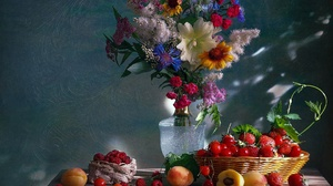 Flower Cherry Berry Raspberry Bouquet Strawberry Apricot 1920x1601 Wallpaper