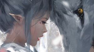 Anime Girls Artwork Ghost Blade Ghostblade WLOP Elves Wolf 1920x1080 Wallpaper