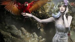 Women Model Makeup Dress Standing Animals Birds Parrot Looking At Viewer Flowers Plants 2400x1664 Wallpaper