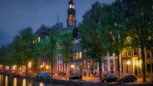 Amsterdam Canal Car City Clock Evening House Netherlands Tower 6000x4000 Wallpaper