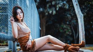 Asian Model Women Long Hair Dark Hair Sitting Fence Wristwatch Depth Of Field Trees Heels Depressing 3840x2561 Wallpaper