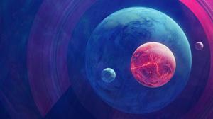 Space 3D Planet Moon Galaxy 7680x4320 Wallpaper