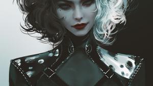 Cruella Cruella De Vil Emma Stone Disney Nixeu Women White Hair Black Hair Artwork Fan Art Illustrat 947x1400 Wallpaper