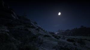 Red Dead Redemption 2 Night Moonlight Nature Landscape Screen Shot Foliage 1920x1080 Wallpaper
