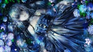 Blue Eyes Dress Flower Girl Long Hair White Hair 3035x2150 Wallpaper