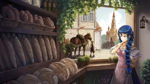 Blue Hair Braid Bread Cart Horse Long Hair Necklace Pink Eyes Smile 3210x2266 Wallpaper