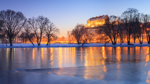 Winter Cold Building Lights Night Trees Water Lake Pruchnicki Mirek Castle Poland River Reflection 1800x1200 Wallpaper