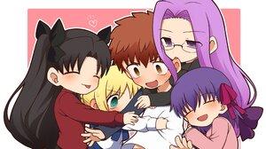 Fate Series Fate Stay Night Fate Stay Night Heavens Feel Anime Girls Anime Boys Chibi Hugging Twinta 2048x1340 Wallpaper